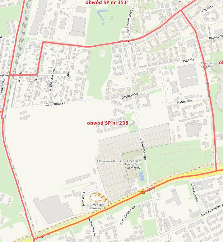 Mapa obwódu Szkoły Podstawowej nr 238