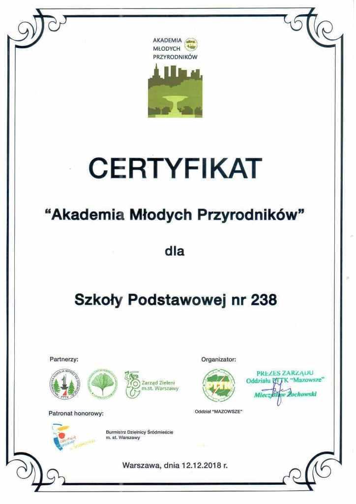 Certyfikat Akademia Młodych Przyrodników