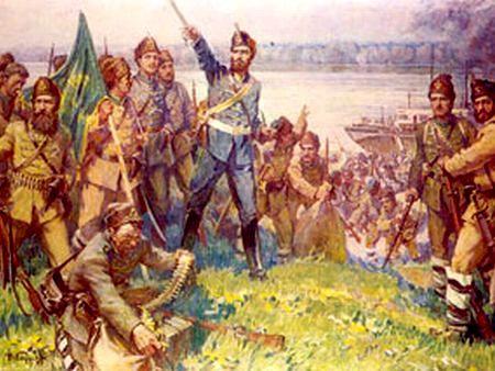 Odział Christo Botewa po wylądowaniu na bułgarskim brzegu Dunaju